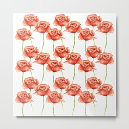 Poppy Flower Watercolor Painting Pattern Metal Print