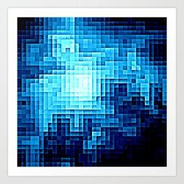 Nebula Pixels Blue Art Print