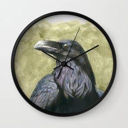 Proud Raven - Watercolor Wall Clock