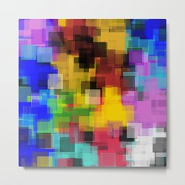 geometric square pattern painting abstract in yellow brown green pink blue Metal Print
