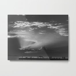 Sunset In Dubrovnik - Croatia - Black & White Metal Print