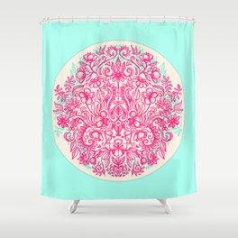 Spring Arrangement - floral doodle in pink & mint Shower Curtain