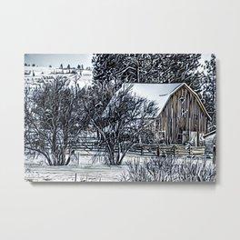 Winter Barn - Graphic 1 Metal Print