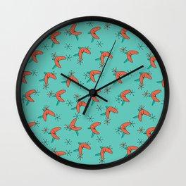 Mid Century Modern Aqua and Orange Wall Clock