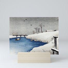 Takahashi Shōtei Snow on Ayase River Mini Art Print