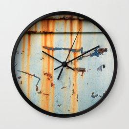 Rust Streaks on Aqua Wall Clock