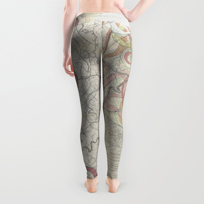 Beautiful Map of the Lower Mississippi River Leggings