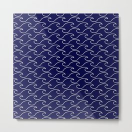 Sea Waves - white on darkblue pattern - Martitime Design Metal Print