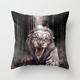 Albino Smilodon (Sabre Tooth Tiger) Throw Pillow