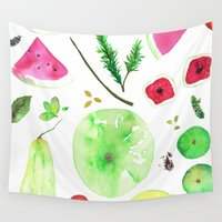 vegetables Wall Tapestries featuring Fruits & Vegetables by Lupimazz