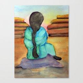 Woman Sitting on Rock Canvas Print