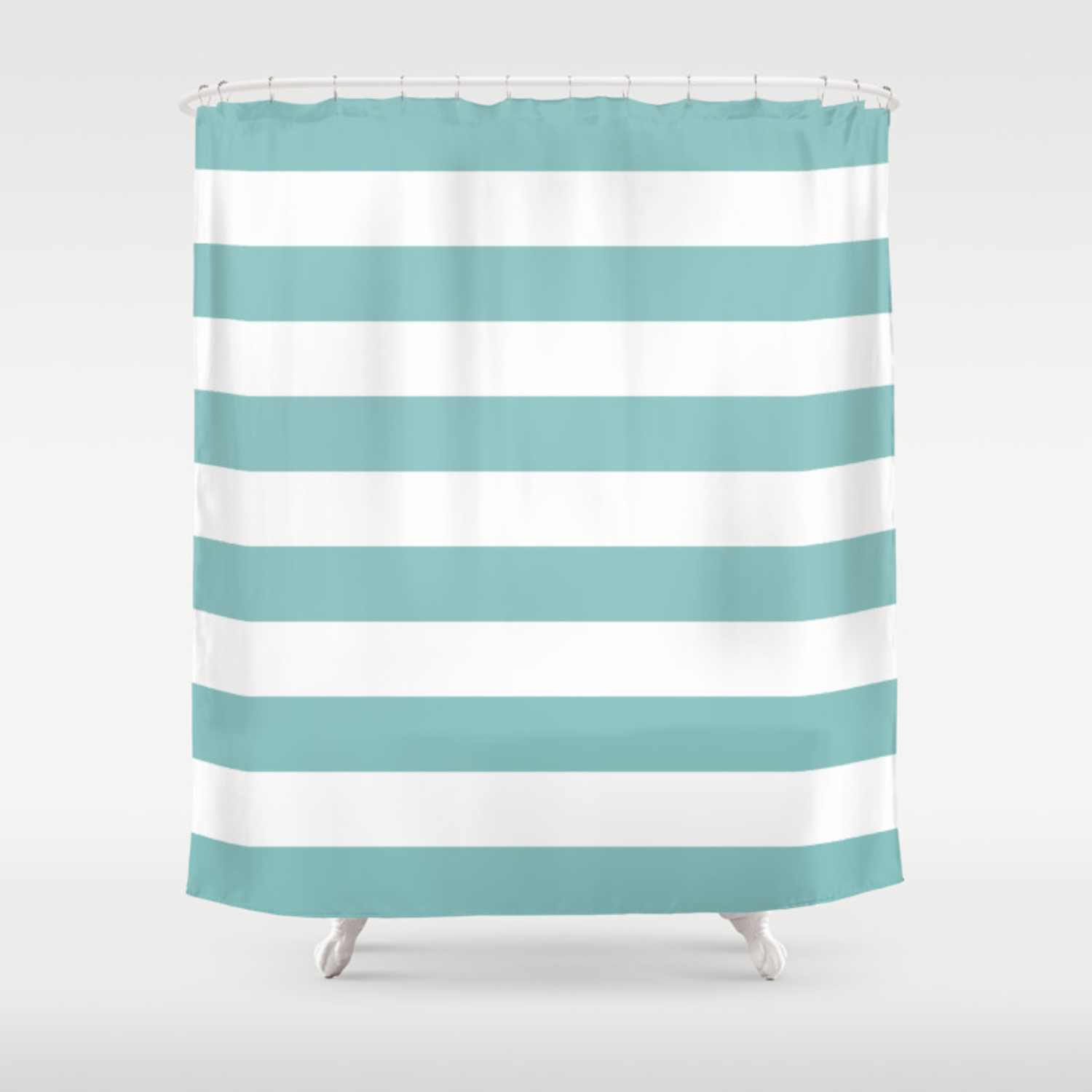 Chalky Blue Horizontal Stripes Shower Curtain