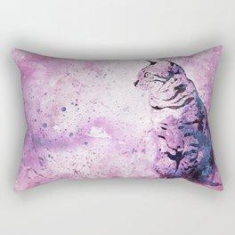Pink Watercolor Cat Painting Rectangular Pillow