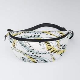 Cheerful pattern of music phrases Fanny Pack
