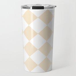 Large Diamonds - White and Champagne Orange Travel Mug