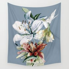 Hummingbird with Flowers Wall Tapestry