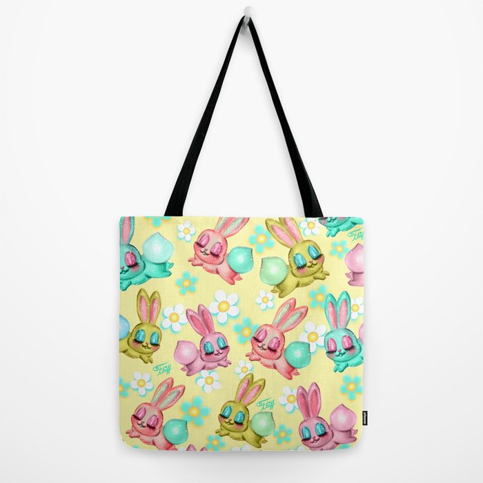 Bunnies and Daisies on Yellow Tote Bag