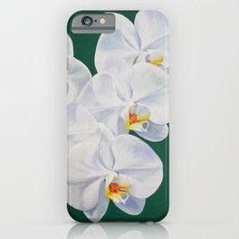 Phaelenopsis - moth orchid painting on green iPhone Case