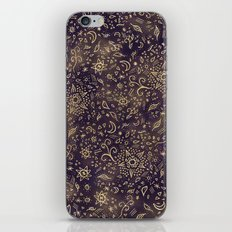 Modern hand drawn doodles esoteric stars flowers gold on purple batik watercolor iPhone & iPod Skin