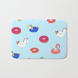 Summer pattern with cats playing in the pool Bath Mat