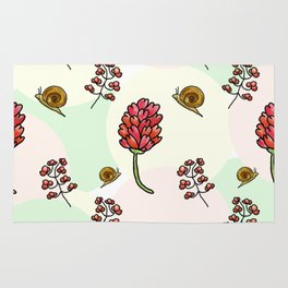 red flowers and snails pattern Rug