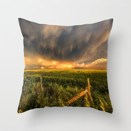 Breadbasket - Golden Light Illuminates Fence and Field in Kansas Throw Pillow