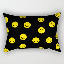 Smiley faces yellow happy simple rainbow colors pattern smile face kids nursery boys girls decor Rectangular Pillow