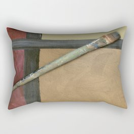 Artist Brush On Abstract Copper Canvas Artwork - Vintage - Modern Art - Corbin Henry Rectangular Pillow