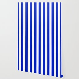 Cobalt Blue and White Wide Circus Tent Stripe Wallpaper