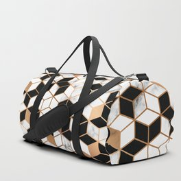 Gold marble cubes Duffle Bag