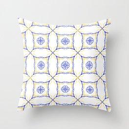 Azulejo Luso - Portuguese Tiles yellow Throw Pillow