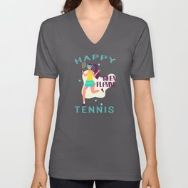 Tennis Player with Racket Women Gift Unisex V-Neck