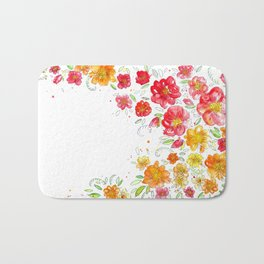 Abstract Flowers Watercolor Painting Artwork Design Bath Mat