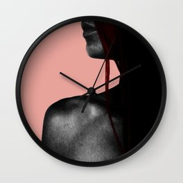 COLOUREDWOMAN - pink background , red hair , black contrast skin Wall Clock