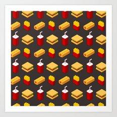 Isometric junk food pattern Art Print