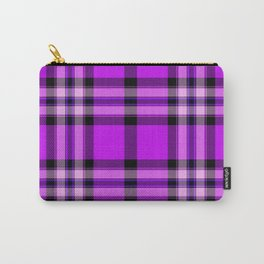 Argyle Fabric Plaid Pattern Purple and Black Colors Carry-All Pouch