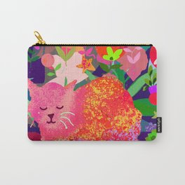 Sleeping Cat with Abstract Background Carry-All Pouch