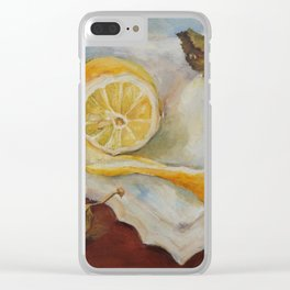 Still life with Lemon Oil painting on canvas Yellow Cirtus Fruit Home decor Clear iPhone Case
