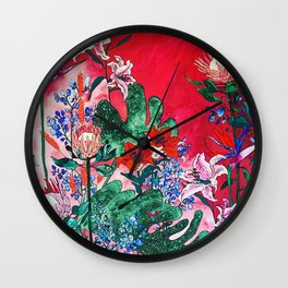 Ruby Red Floral Jungle Wall Clock