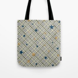Gold and blue stars on a gray checkered background . Tote Bag
