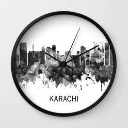 Karachi Pakistan Skyline BW Wall Clock