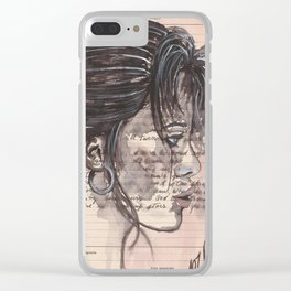 Handwritten letter with portrait Clear iPhone Case