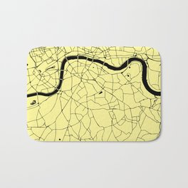 London Yellow on Black Street Map Bath Mat