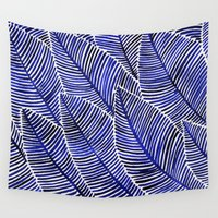 navy Wall Tapestries featuring Tropical Navy by Cat Coquillette