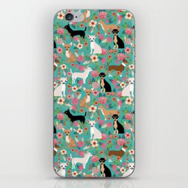 Chihuahua dog breed floral pet gifts perfect present for chihuahuas pure breed iPhone Skin