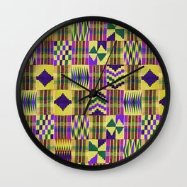 Kente Cloth // Blue-Violet & Goldenrod Wall Clock