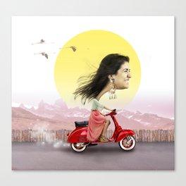pisi en moto Canvas Print