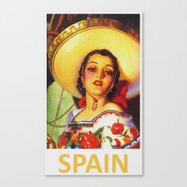 Senorita - Vintage Spain Travel Ad Canvas Print