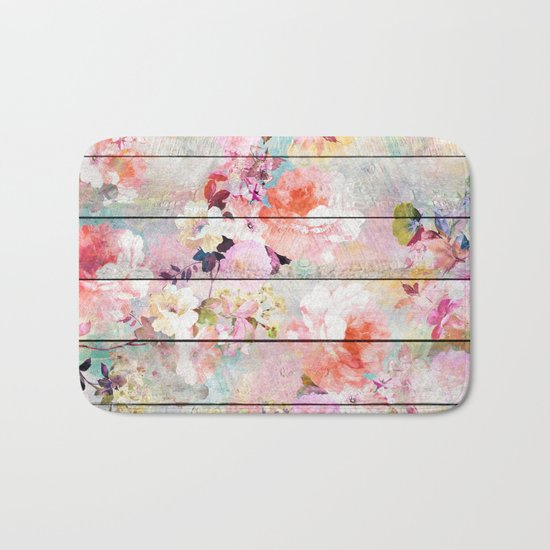Summer pastel pink purple floral watercolor rustic striped wood pattern Bath Mat