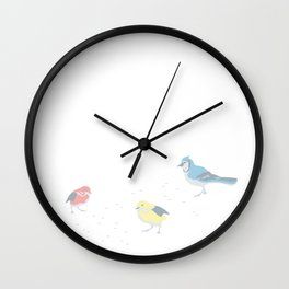 Little Birds (Primary Colors) Wall Clock